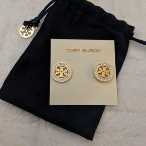 Tory Burch Crystal Gold Logo Earrings / Studs